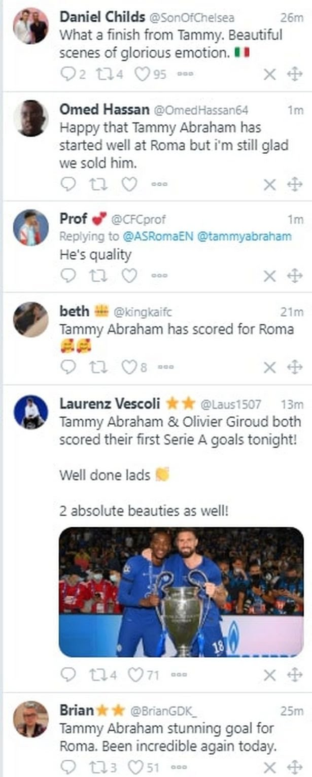 Tammy Abraham goal reaction